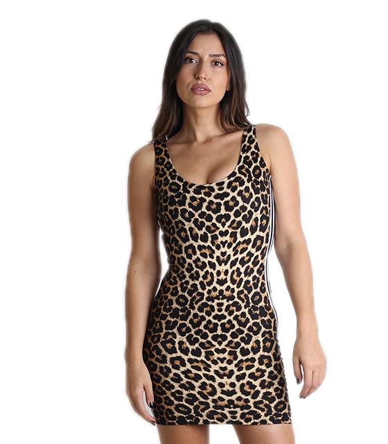 84fdbe51638c Μίνι εφαρμοστό φόρεμα με ρίγες στο πλάι (Λεοπάρ)