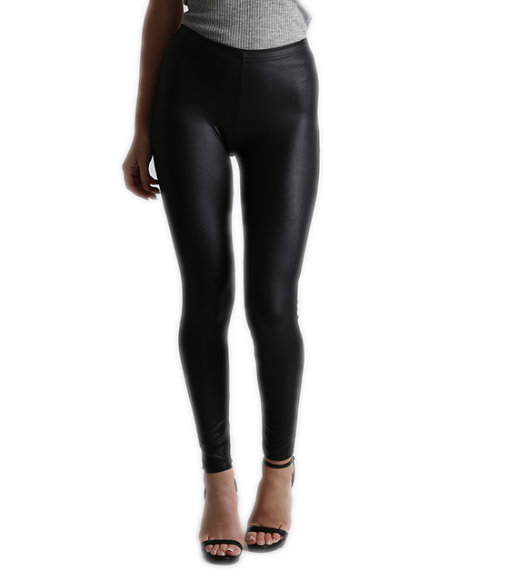 Leggings high-waist black faux leather