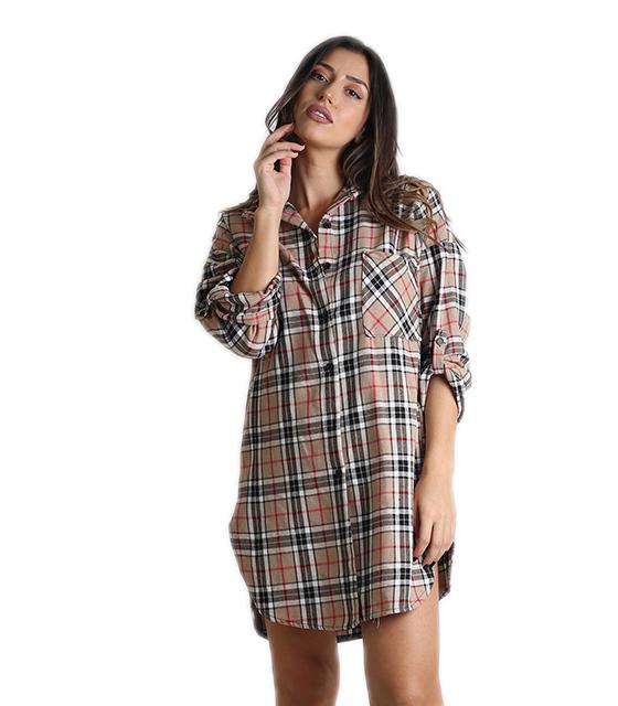 0501456b9060 Καρό πουκάμισο με τσέπη και πατ μανικιών (Μπεζ)