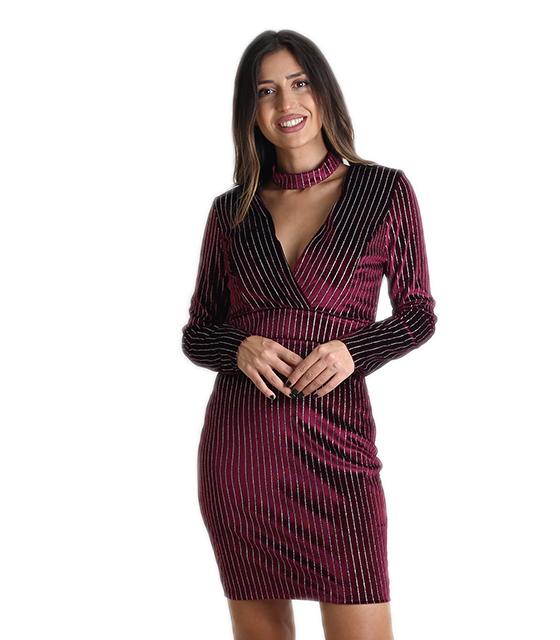 Φόρεμα βελούδο κρουαζέ με τσόκερ (Μπορντό) ρούχα   φορέματα