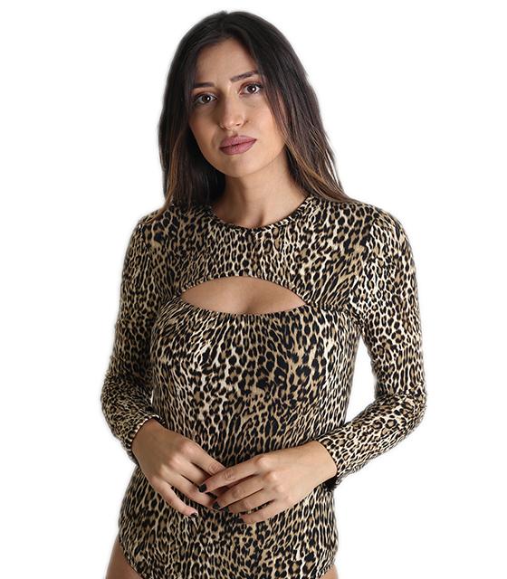 Λεοπάρ κορμάκι με άνοιγμα στο στήθος ρούχα   μπλούζες   top   κορμάκια