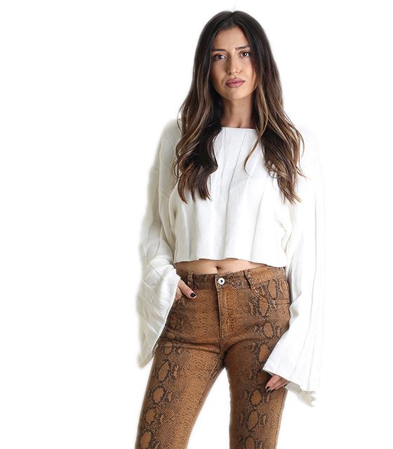 Πλεκτή μπλούζα με φαρδιά μανίκια (Λευκή) ρούχα   μπλούζες   top