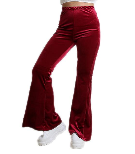 3b992a2cbb57 Ψηλόμεση βελούδινη παντελόνα καμπάνα (Μπορντό)
