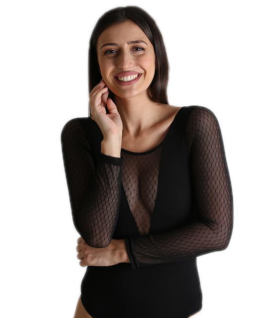 Μαύρο κορμάκι με λαιμόκοψη και διαφάνεια πουά ρούχα   μπλούζες   top   κορμάκια