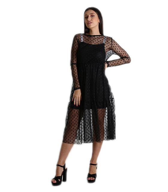 8b147fa369d7 Μακρυμάνικο φόρεμα διαφάνεια πουά (Μαύρο)