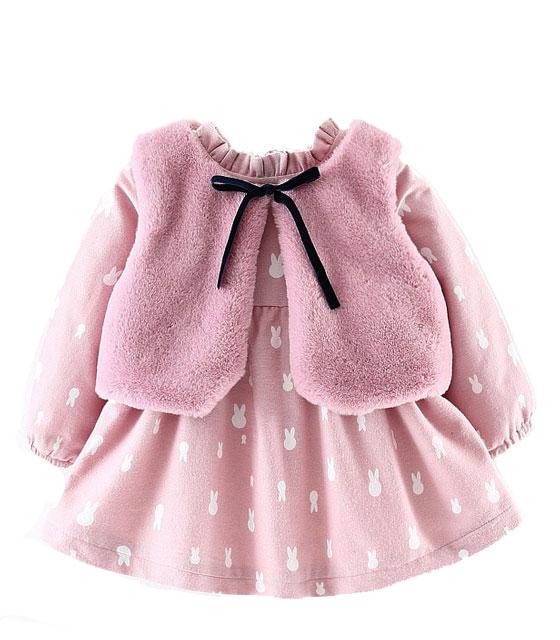 Βρεφικό ροζ σετ φόρεμα με γουνάκι παιδικά   ενδύματα υπόδηματα κορδέλες