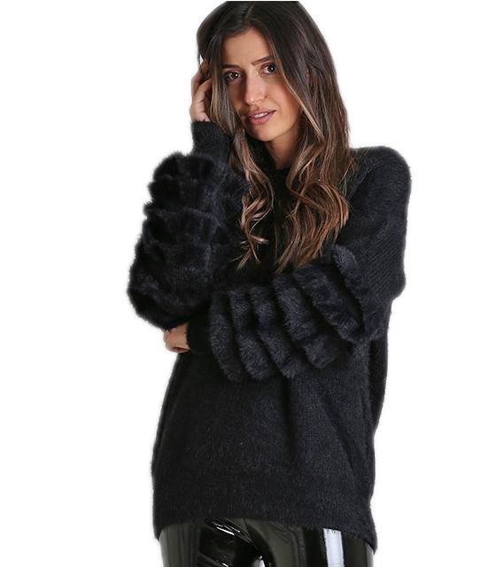Μπλούζα πλεκτή με βολάν στα μανίκια (Μαύρο) ρούχα   πλεκτά