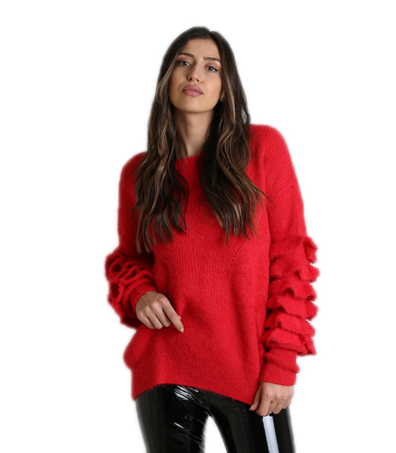 Μπλούζα πλεκτή με βολάν στα μανίκια (Κόκκινο) ρούχα   μπλούζες   top
