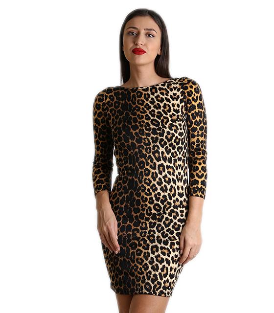 Φόρεμα ελαστικό με ανοικτή πλάτη (Λεοπάρ)