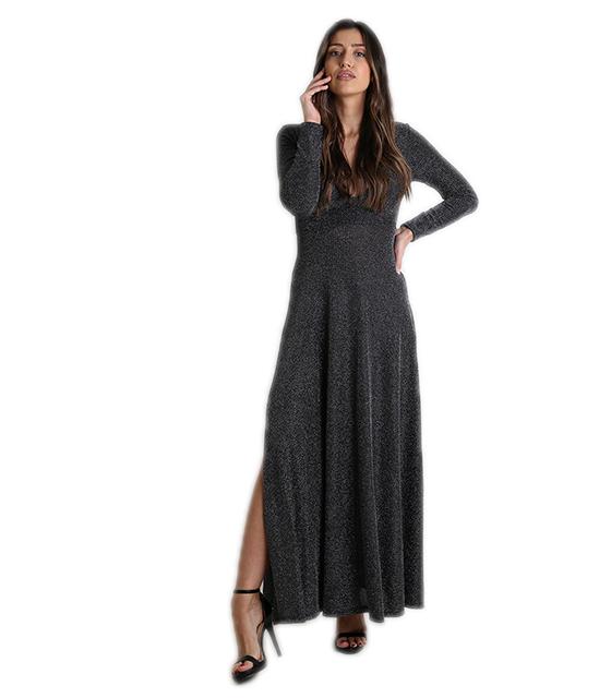 Φόρεμα μάξι με ανοιχτό ντεκολτέ και επένδυση (Ασημί) ρούχα   φορέματα