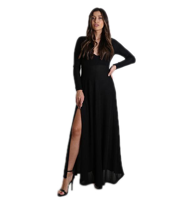 Φόρεμα μάξι με ανοιχτό ντεκολτέ και επένδυση (Μαύρο)
