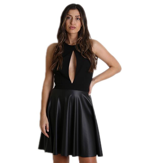 9f18787828c8 Φόρεμα με άνοιγμα μπροστά και δερματίνη στο κάτω μέρος (Μαύρο)