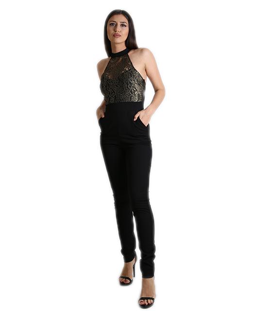 Ολόσωμη φόρμα μαύρη με μπούστο απο δαντέλα Χρυσή ρούχα   ολόσωμες φόρμες