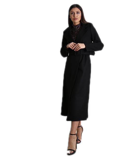 Παλτό μακρύ σταυρωτό με ζώνη (Μαύρο) ρούχα   πανωφόρια   σακάκια   παλτό