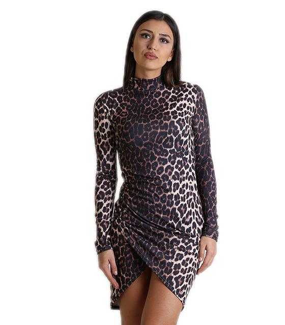 Ασύμμετρο εφαρμοστό φόρεμα ζιβάγκο (Λεοπάρ)
