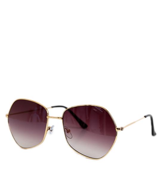 Γυαλιά ηλίου πολύγωνα με μαύρο φακό και χρυσό σκελετό αξεσουάρ   γυαλιά