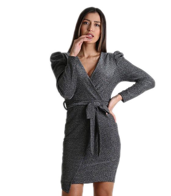 Φόρεμα κρουαζέ λούρεξ με κρυφό φερμουάρ (Ασημί) ρούχα   φορέματα