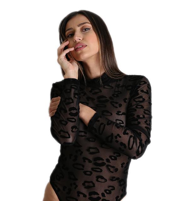 Κορμάκι διαφάνεια με βελούδινο λεοπάρ (Μαύρο) ρούχα   μπλούζες   top   κορμάκια