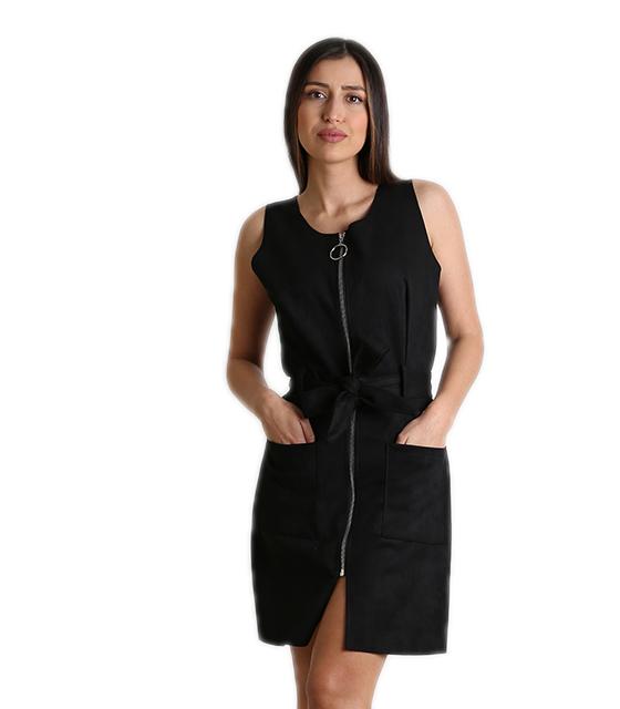 Αμάνικο φόρεμα σουέτ με φερμουάρ και ζώνη (Μαύρο) ρούχα   φορέματα