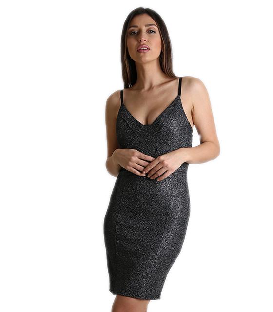 Μίνι φόρεμα μαύρο με γκλίτερ και επένδυση στο στήθος 6597b2d3184