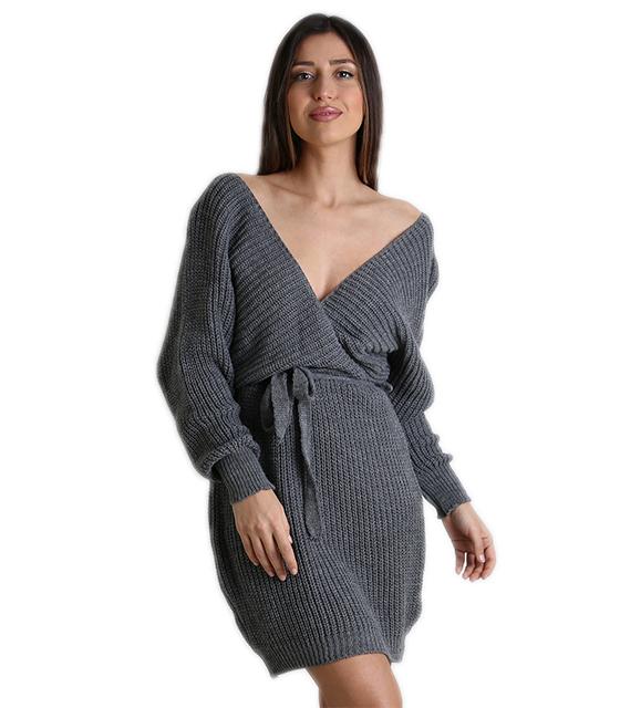 Φόρεμα πλεκτό ριπ κρουαζέ με ζώνη (Γκρί) c67be531c08