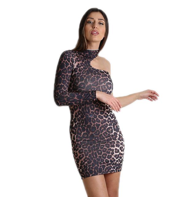 Φόρεμα ελαστικό με ένα μανίκι (Λεοπάρ)