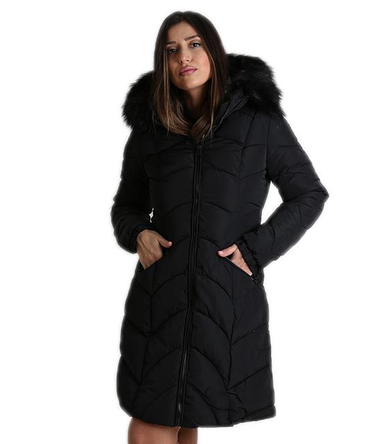 2734c1d70e34 Παρκά μαύρο γυναικείο μεσάτο με γούνα στην κουκούλα