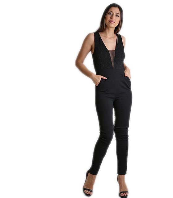 Ολόσωμη φόρμα με μπούστο βε και λεπτομέρεια διαφάνεια (Μαύρο) ρούχα   ολόσωμες φόρμες