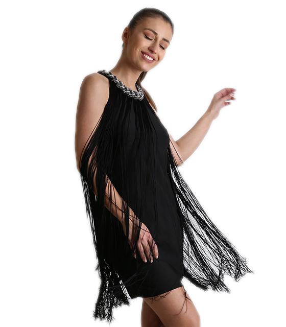 Φόρεμα μίντι με κρόσια Μαύρα (Μαύρο) ρούχα   φορέματα   βραδυνά φορέματα