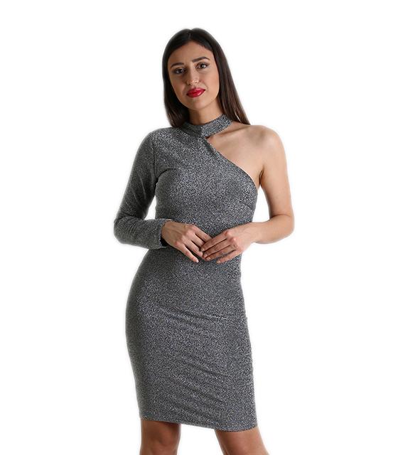 Φόρεμα λούρεξ με ένα μανίκι και ενίσχυση στο στήθος (Ασημί)