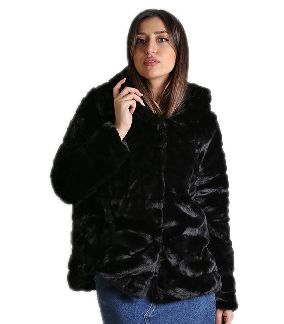 Μαύρη γoύνα με κουκούλα και κρυφό κούμπωμα ρούχα   πανωφόρια   γούνες   γουνάκια