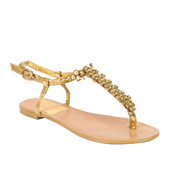 Flat gold sandals with rhinestones