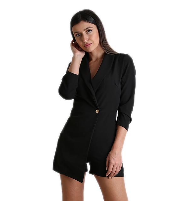 Μαύρο σακάκι με εσωτερικό σορτς και κουμπί ρούχα   πανωφόρια   σακάκια   παλτό