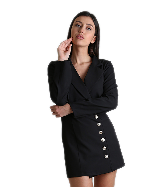 Μαύρο φόρεμα - σακάκι με κουμπιά ρούχα   πανωφόρια   σακάκια   παλτό