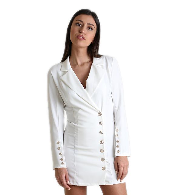Λευκό φόρεμα - σακάκι με κουμπιά ρούχα   πανωφόρια   σακάκια   παλτό
