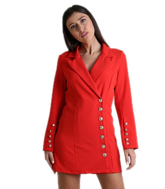 Κόκκινο φόρεμα - σακάκι με κουμπιά ρούχα   πανωφόρια   σακάκια   παλτό