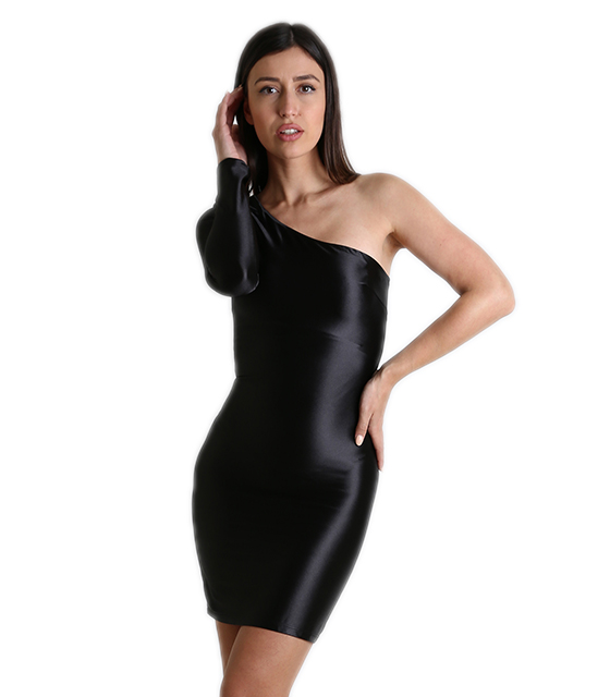 Σατέν φόρεμα με ένα μανίκι και επένδυση (Μαύρο) ρούχα   φορέματα