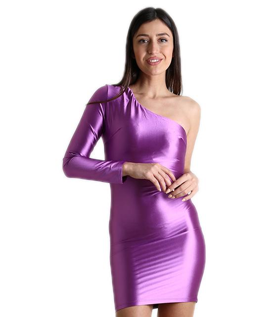Σατέν φόρεμα με ένα μανίκι και επένδυση (Μωβ) ρούχα   φορέματα
