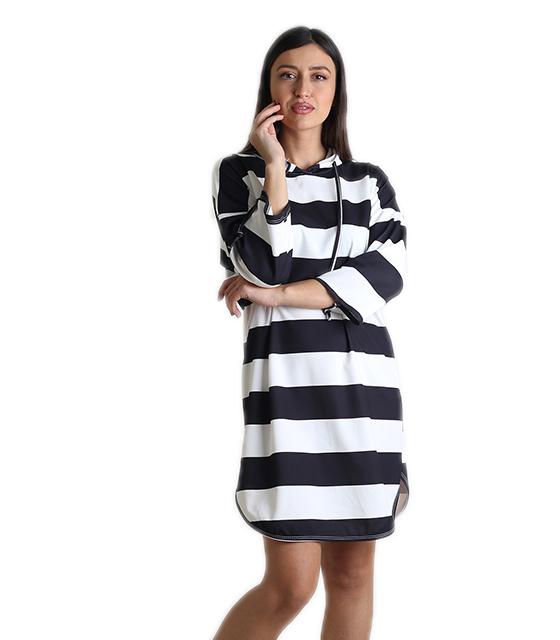 Φόρεμα ριγέ με κουκούλα (Ασπρόμαυρο) 2fb95a8cb39