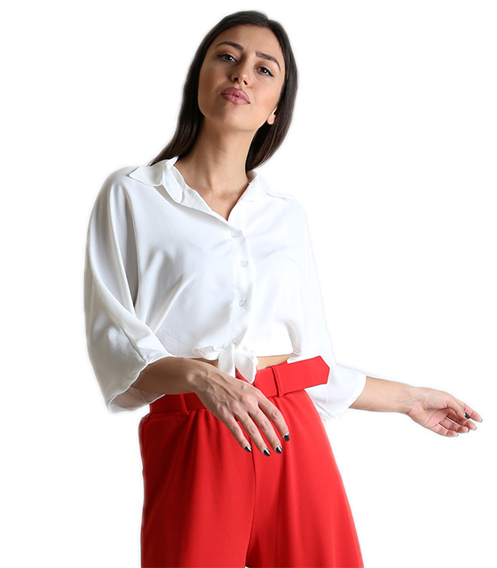 Μπλούζα με σούρα στο πίσω μέρος (Λευκό) ρούχα   μπλούζες   top