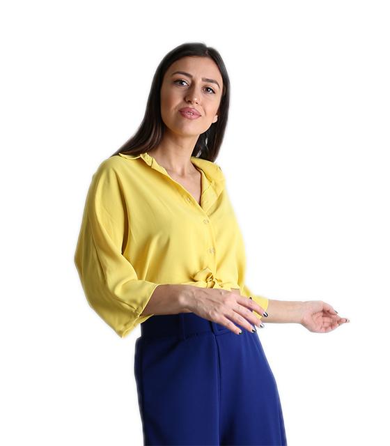 Μπλούζα με σούρα στο πίσω μέρος (Κίτρινο) ρούχα   μπλούζες   top