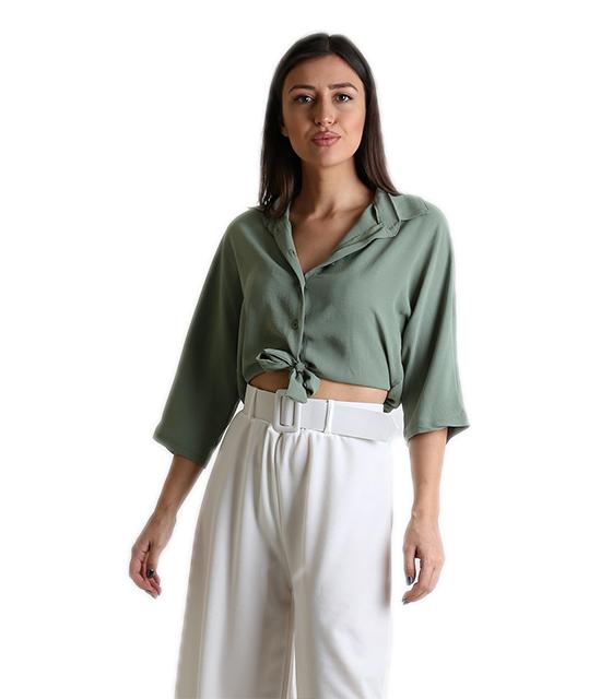 Μπλούζα με σούρα στο πίσω μέρος (Χακί) ρούχα   μπλούζες   top