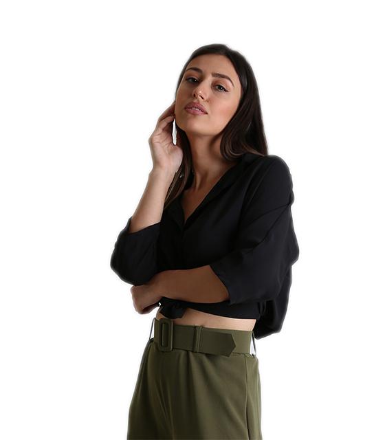 Μπλούζα με σούρα στο πίσω μέρος (Μαύρο) ρούχα   μπλούζες   top