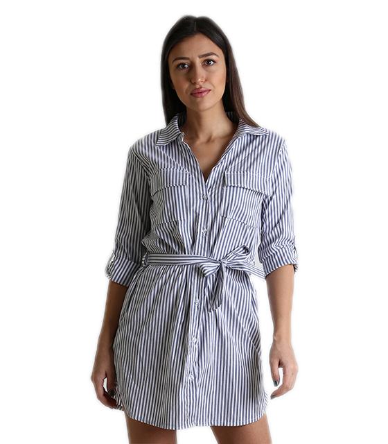 818b8b8e58cd Ριγέ φόρεμα με τσέπες και ζώνη (Γκρι)