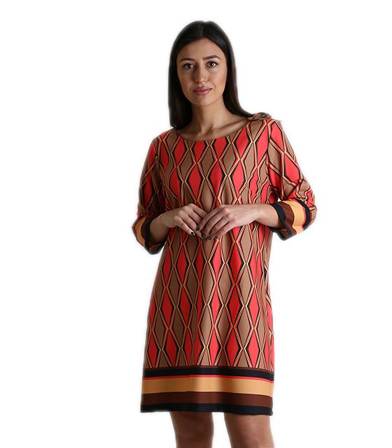 6df4efcb9428 Φόρεμα μίντι με 3 4 μανίκια και τύπωμα ρόμβους (Κόκκινο-Καφέ)