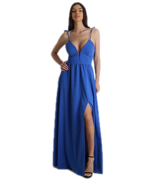 52f34567143b Φόρεμα μάξι με δεσίματα και κρυφό φερμουάρ (Μπλε)