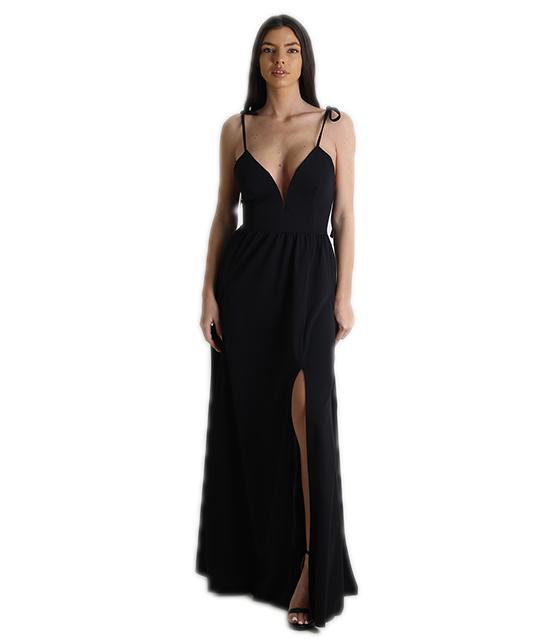 76bcc6f0d3f3 Φόρεμα μάξι με δεσίματα και κρυφό φερμουάρ (Μαύρο)