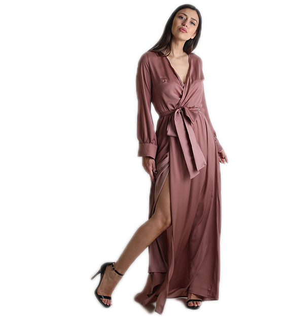 e7598b03a5e7 Μάξι φόρεμα κρουαζέ σατέν με ζώνη (Ροζ σάπιο μήλο)