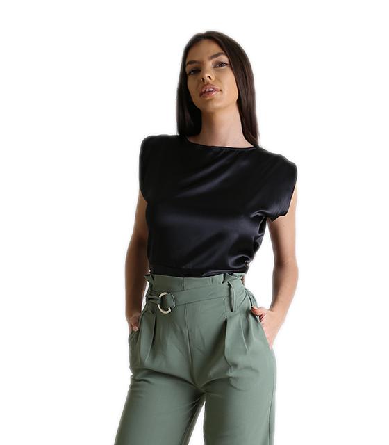 Σατέν μπλούζα αμάνικη με δέσιμο (Μαύρο) ρούχα   μπλούζες   top