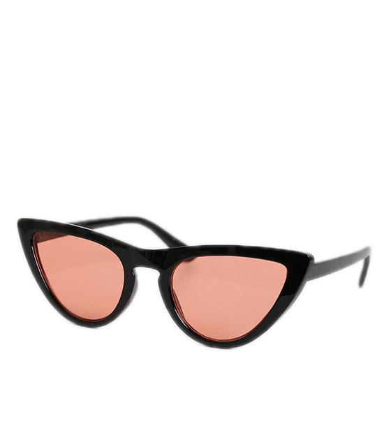 Cat-Eye μαύρα γυαλιά ηλίου με ροζ φακό